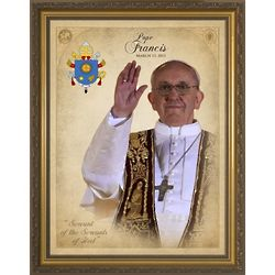 Large Pope Francis Commemorative Framed Print