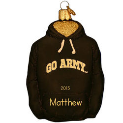 Personalized Army Glass Hoodie Christmas Ornament