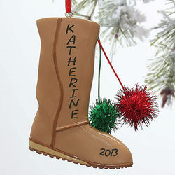 Snow Boots Personalized Christmas Ornament