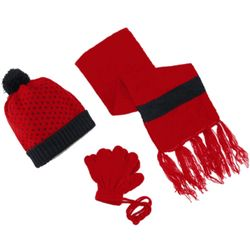 Toddler's Polka Dotted Hat, Scarf and Gloves on a String Set