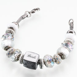 "Bride's Glass and Silver 8"" Charm Bracelet"