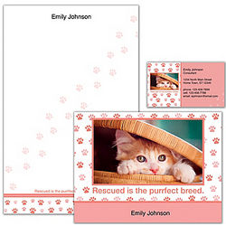 Rescued Is Something to Purr About Cat Personalized Stationery