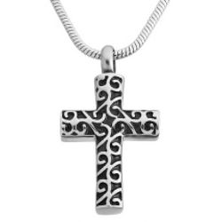 Memorial Scroll Cross Urn Necklace
