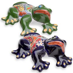 Large Talavera-Inspired Ceramic Toad Wall Accent