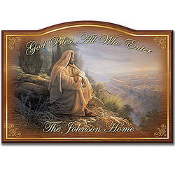 Personalized God Bless All Who Enter Welcome Sign