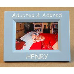 Hand-Painted Adopted and Adored Picture Frame