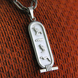 Personalized Hieroglyphic Silver Cartouche Pendant