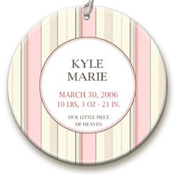 Personalized Pink Stripe Ornament