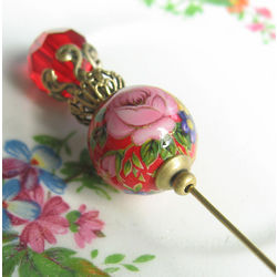 Sweet Floral Red Hat Pin