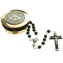 First Communion Black Rosary and Memory Box