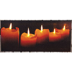 Flickering LED Candle Canvas Wall Art