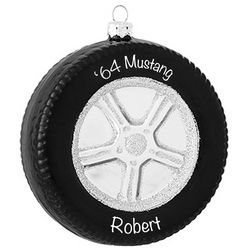 Personalized Tire for Car Buff Glass Ornament