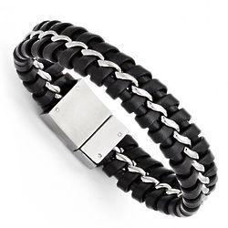 Men's Stainless Steel Black Leather Brushed and Polished Bracelet