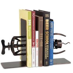 Book And Corkscrew Metal Art Bookends