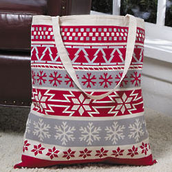 Christmas Trees and Snowflakes Tote Bag
