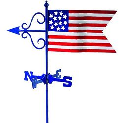 American Flag Weathervane with Garden Pole