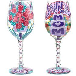 Happy Birthday Mom Wine Glass