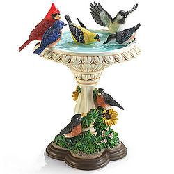 Bath Time in the Garden Songbird Birdbath Sculpture