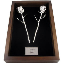 25th Anniversary Remembrance Shadow Box with Silver Roses
