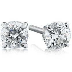 1.50ct Round Diamond Solitaire Earrings in 14k White Gold