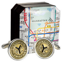Authentic New York City Transit Token Cufflink