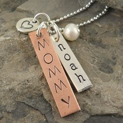 Copper and Sterling Personalized Tag Necklace