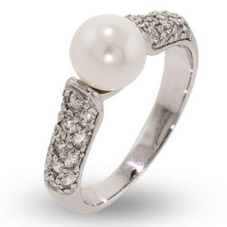 Sparkling Pave CZ Ring with Single Pearl