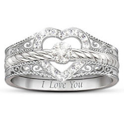 I Love You Heart-Shaped Diamond Stacking Rings