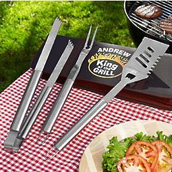 Personalized King of the Grill BBQ Tool Set