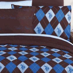 Polo Blue and Brown Argyle Twin Bed Set