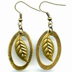 Brass Oval and Leaf Earrings