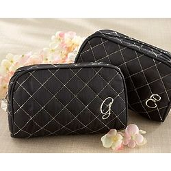 Cosmetic Couture Quilted Monogrammed Cosmetic Bag