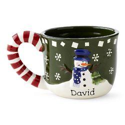 Personalized Snowman Candy Cane Mug