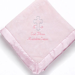 Pink Personalized Christian Baby Blanket