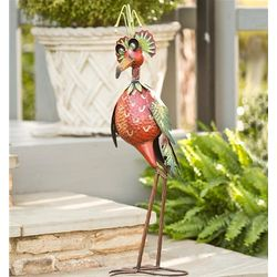 Red Bobble Head Bird Metal Garden Sculpture