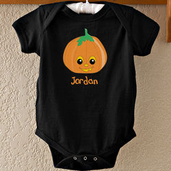 Personalized Boy's Halloween Pumpkin Baby Bodysuit