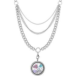 "Build A Charm Round CZ Floating Locket on 28"" Layered Chain"