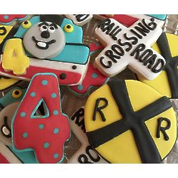 Toy Train Birthday Frosted Cookies