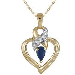 Sapphire and Diamond Ribbon Gold Heart Pendant