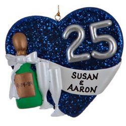 Personalized Silver Anniversary Heart Christmas Ornament