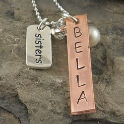 Sisters Copper Tag Personalized Hand Stamped Necklace