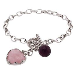 Designer Style Amethyst and Pink Quartz Heart Tag Toggle Bracelet