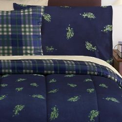 Polo Navy Blue And Hunter Green Bed Set - Twin