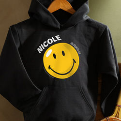 Black Personalized Smiley Face Kids Sweatshirt