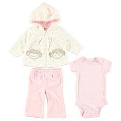 Baby Girl's Monkey Smiles Hoodie, Pants, and Bodysuit