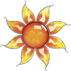 Glowing Sun Face Outdoor Wall Art