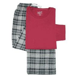 Cotton Plaid Pajama Set with Long Sleeve Crew