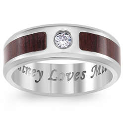 Titanium and Wood Cubic Zirconia Engraved Message Band