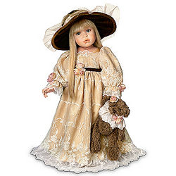 Victorian-Style Catherine Child Doll with Teddy Bear