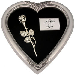 Kissing Rose in Remembrance Heart Frame